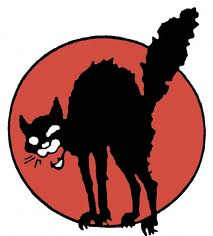 Cartoon of scrawny, angry black cat, back arched, claws extended, bottle-brush tail, mouth open as if shrieking