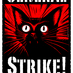 Badge that says STRIKE! at bottom in white. A black, alarmed-looking cat-face with a red background.