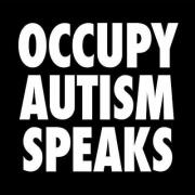 Large white letters on black background, square badge, says Occupy Autism Speaks