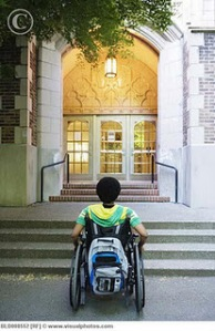 The back of a brown-skinned person of indeterminate gender in a manual wheelchair with a backpack sits looking into the entrance of a building with two flights of steps to get inside.